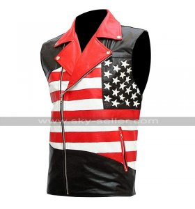 Mens Sleeveless Brando Motorcycle Jacket Independence American Flag Biker Leather Vest