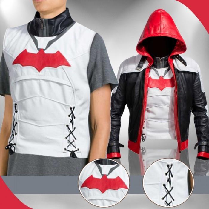 Red Hood Batman Arkham Knight Leather Costume Vest Jacket