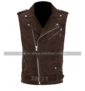 Mens Slim Fit Brando Motorcycle Dark Brown Suede Leather Vest for Boys