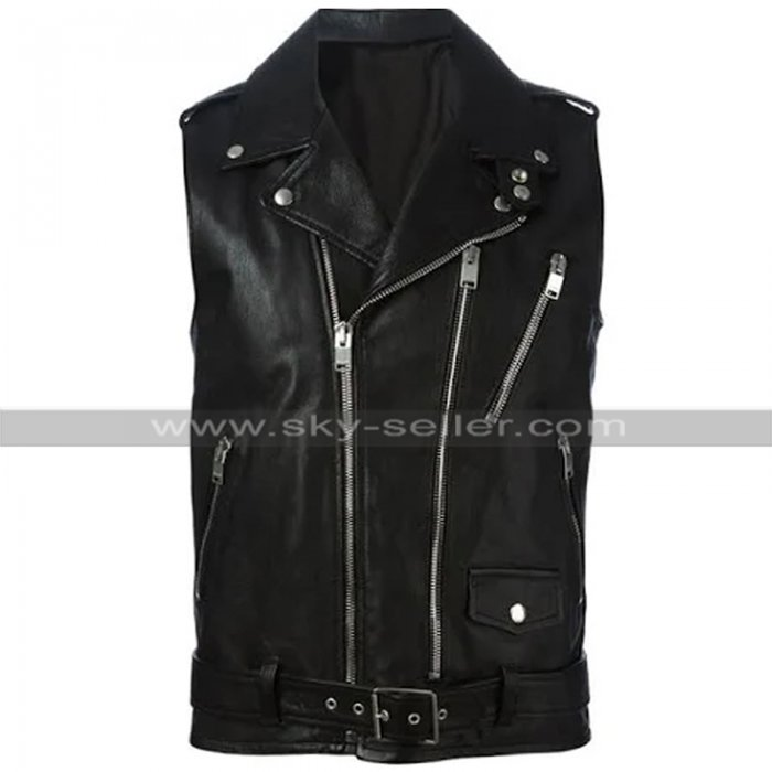 Mens Cafe Racer Biker Sleeveless Brando Motorcycle Black Leather Vest for Riders