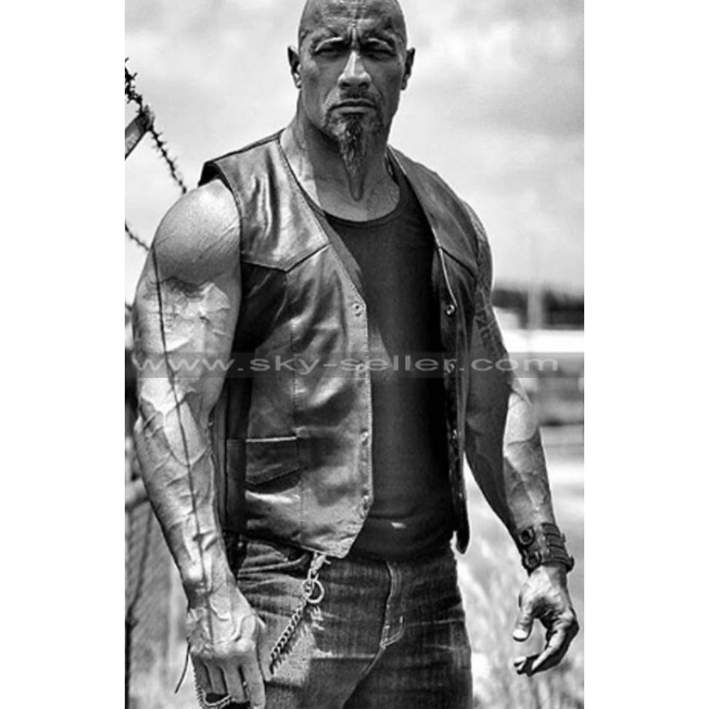 Fate of the Furious Dwayne Johnson Black Leather Vest