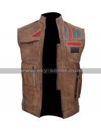 Star Wars The Rise of Skywalker John Boyega Finn Distressed Brown Leather Vest