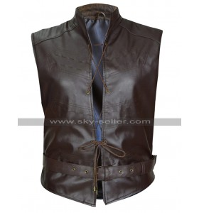 Iwan Rheon Game of Thrones Ramsay Bolton Belted Brown Leather Vest