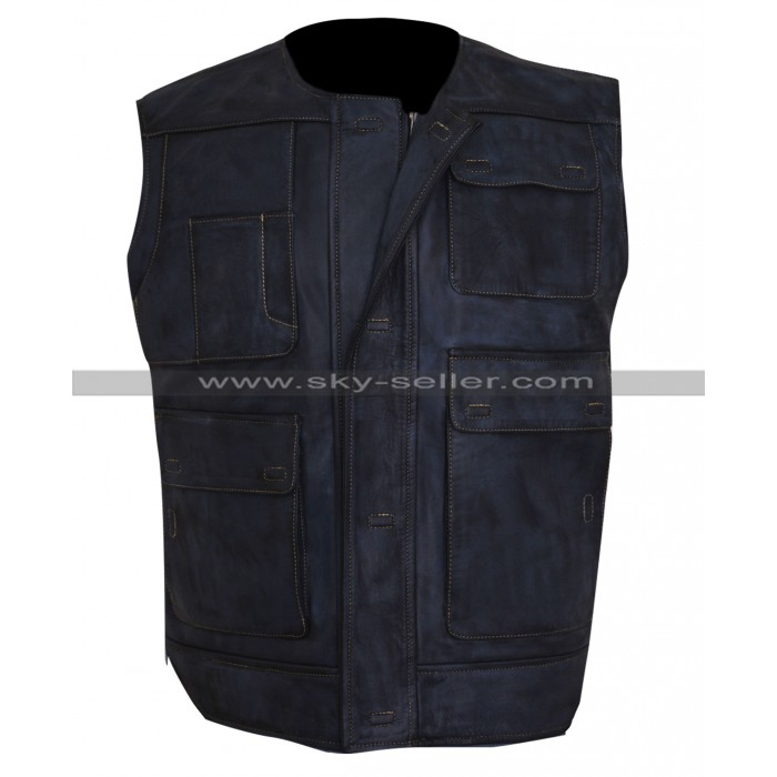 Star Wars A New Hope Han Solo (Harrison Ford) Black Leather Vest