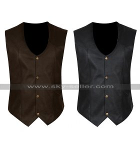 Fast & Furious Hobbs & Shaw Dwayne Johnson Rock Leather Vest in Black & Brown
