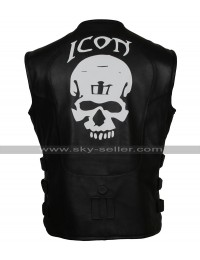 Men's Skull Regulator Icon Biker Black Leather Vest