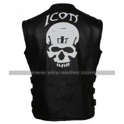 Men's Skull Regulator Icon Biker Black Leather Vest