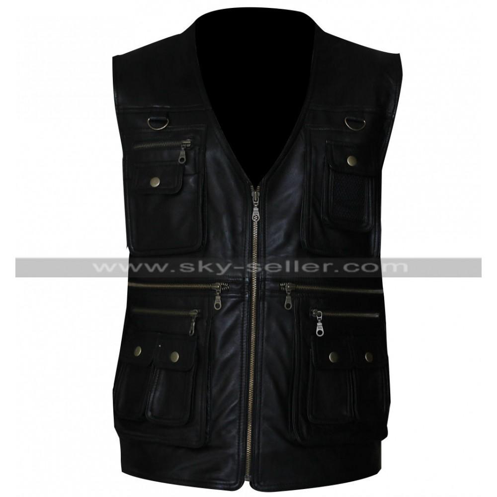 Men's Front Pockets Vest Leather Jacket