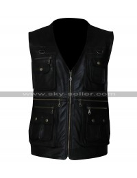 Men's Front Pockets Vest Leather Jacket