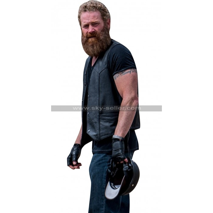 SGT. Will Gardner Max Martini Ghost Biker Black Leather Vest