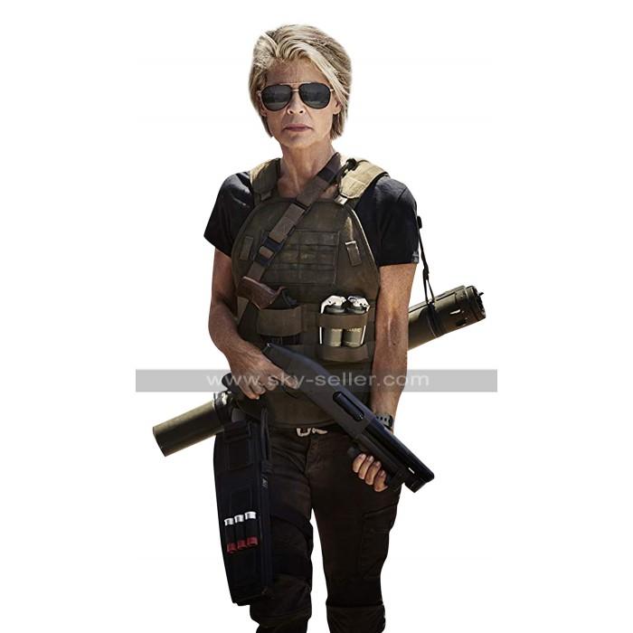 Terminator Reboot 2019 Linda Hamilton (Sarah Connor) Brown Leather Vest