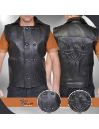 Spider-Man Noir Costume Black Leather Jacket Vest