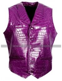 Jared Leto Suicide Squad Joker Costume Crocodile Purple Leather Vest