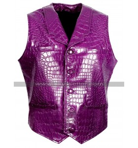 Jared Leto Suicide Squad Joker Costume Crocodile Purple Leather Vest