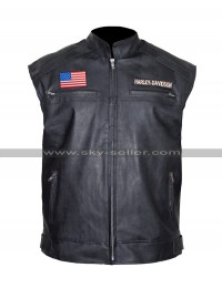Harley Davidson Texas Flag Mens Biker Leather Vest