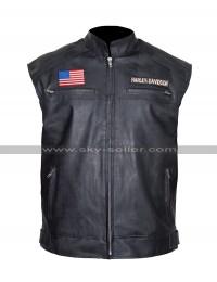 Harley Davidson Texas Flag Mens Biker Leather Vest