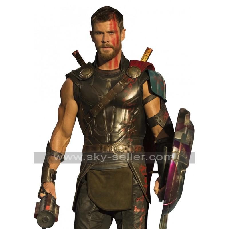 sc 1 st  Sky-Seller & Thor Ragnarok Chris Hemsworth Armour Leather Costume Vest