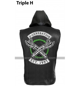 D Generation X Triple H WWE Crown Jewel DX HHH Black Leather Vest Hoodie Jacket