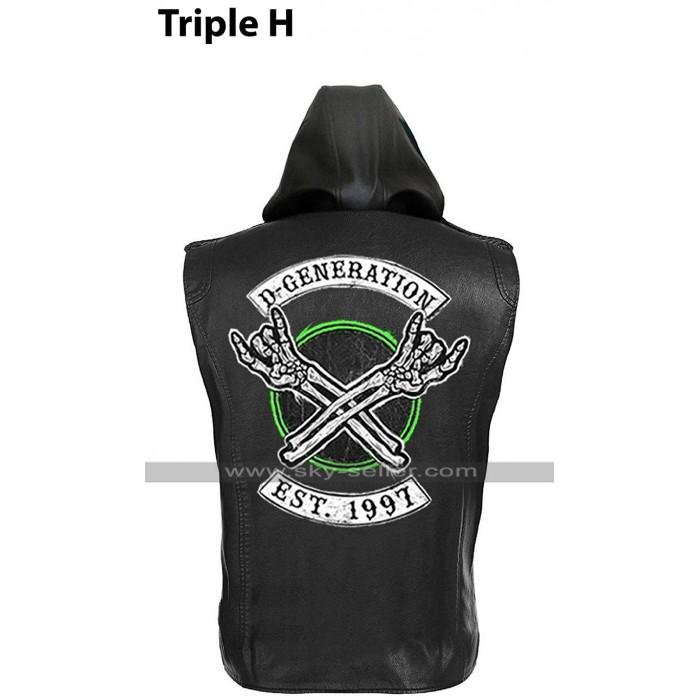 D Generation X Triple H WWE Crown Jewel DX HHH Black Leather Vest Hoodie Jacket