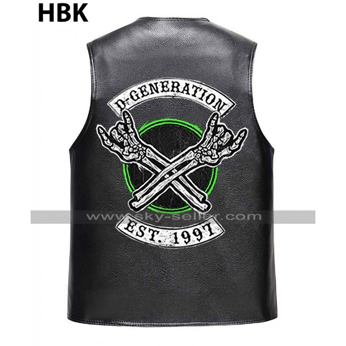 D Generation X Shawn Michaels WWE Crown Jewel DX HBK Black Vest Leather Jacket