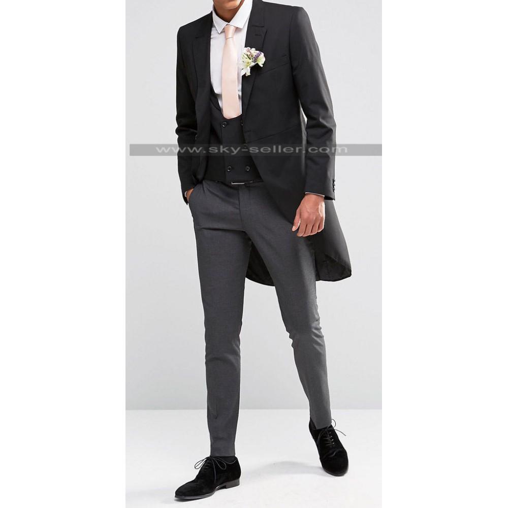 Homme Black & Grey Skinny Fit Wedding Suit