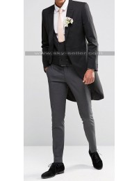 Homme Black & Grey Skinny Fit Wedding Suit
