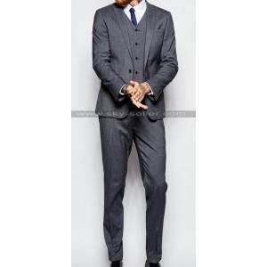Men's Peak Lapel Single Button Charcoal Grey Suit