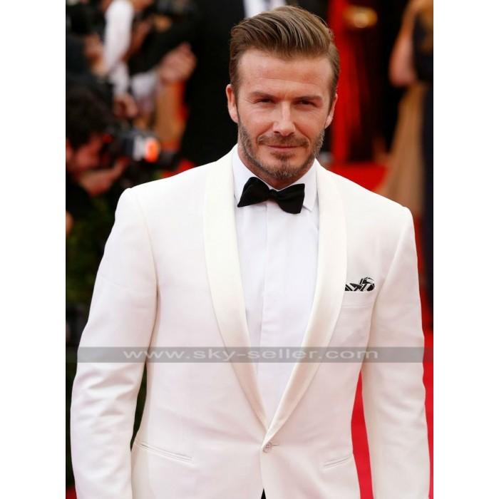 David Beckham Ivory White Tuxedo Suit
