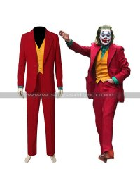 Mens Evil Clown Joaquin Phoenix Red Joker Costume Slim Fit 3 Piece Suit
