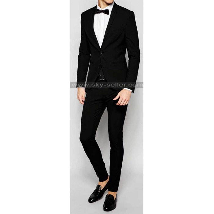 Homme Black Super Skinny Fit with Stretch Suit
