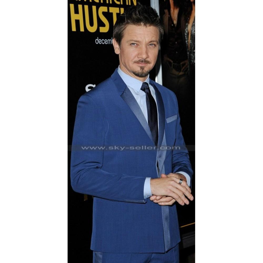 Jeremy Renner Deep Blue Notch Lapel Tuxedo Suit