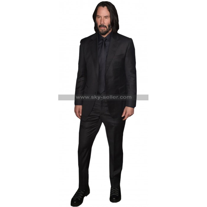 John Wick Chapter 3 Parabellum Keanu Reeves Black 3 Piece Suit For Men