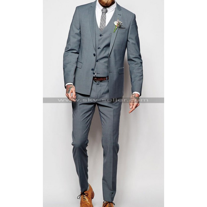Notch Lapel Mens Light Blue Tonic Suit