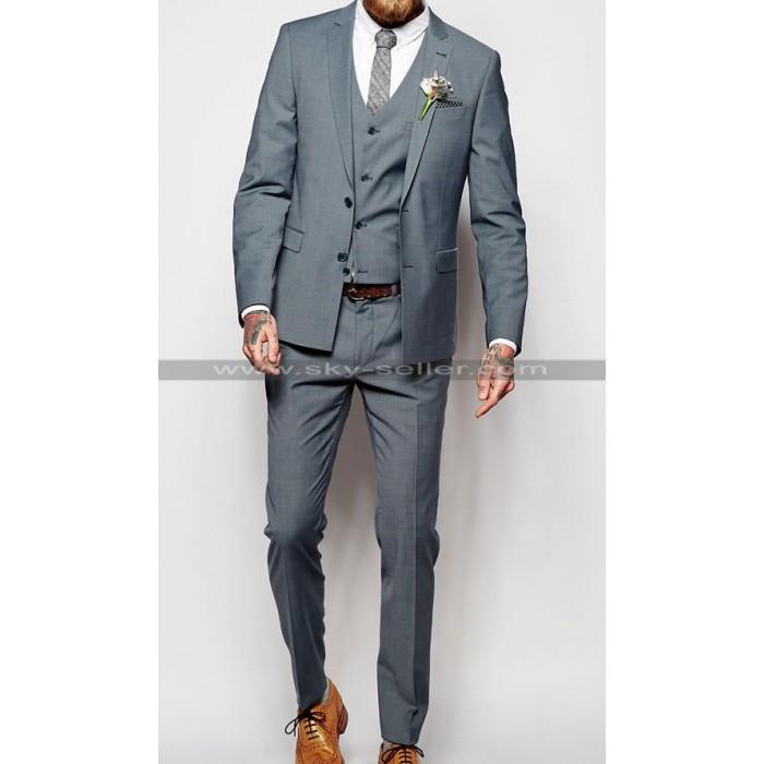 Notch Lapel Mens Light Blue Tonic Suit