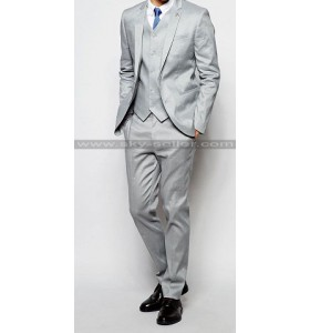 Men's Skinny Fit Notch Lapel Grey Suit