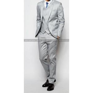 Men's Skinny Fit Notch Lapel Grey Suit