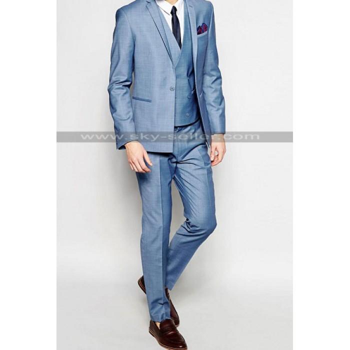 Skinny Fit Men's Straight Hem Blue Suit
