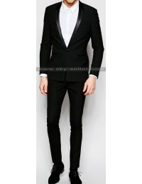Men's Super Skinny Fit Black Tuxedo Suit