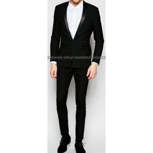 Men's Super Skinny Fit Black Tuxedo Suit