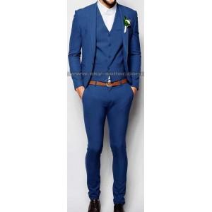 Men's Mid Blue Slim Fit Wedding Suit
