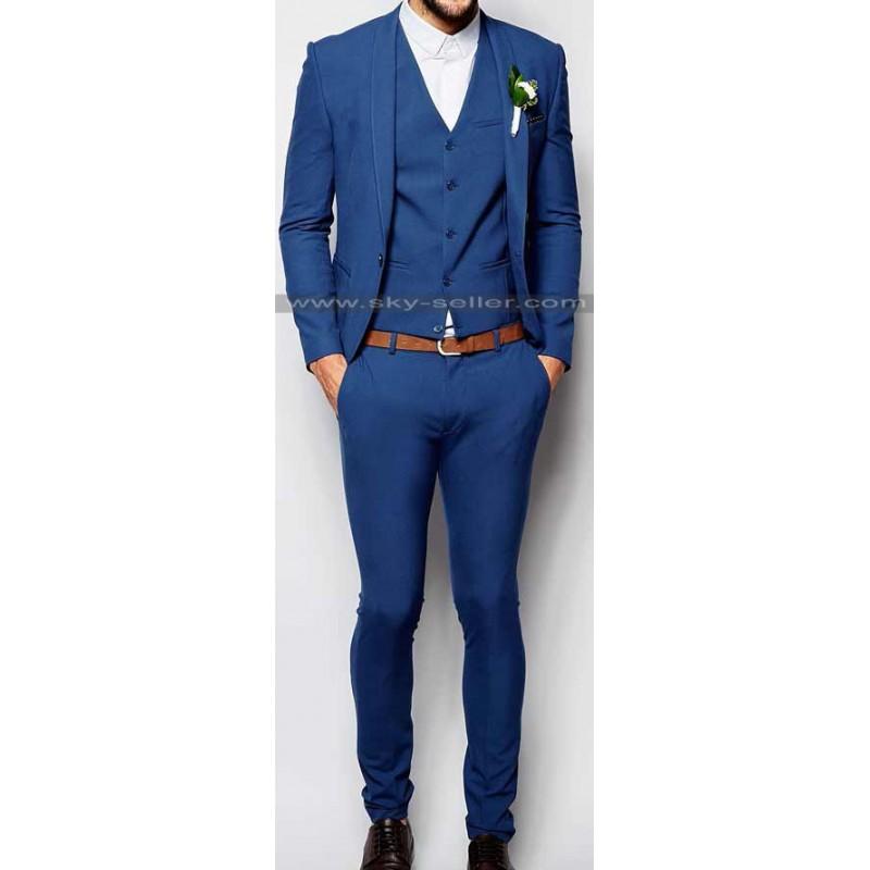 Mid Blue Slim Fit Wedding Suit