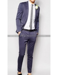 Men Notch Lapel Wedding Suit in Grey