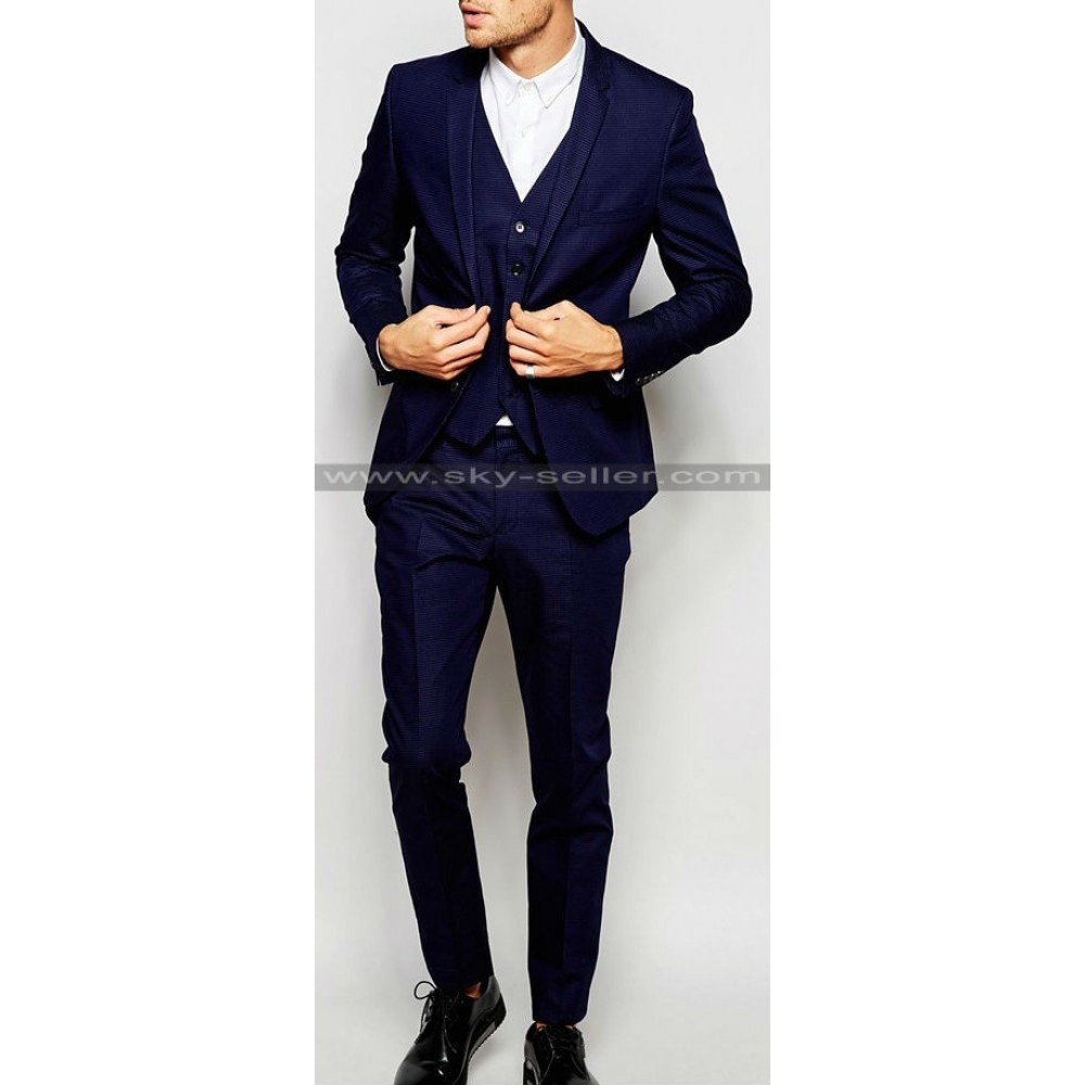 Navy Blue Pin Dot Skinny Fit Suit