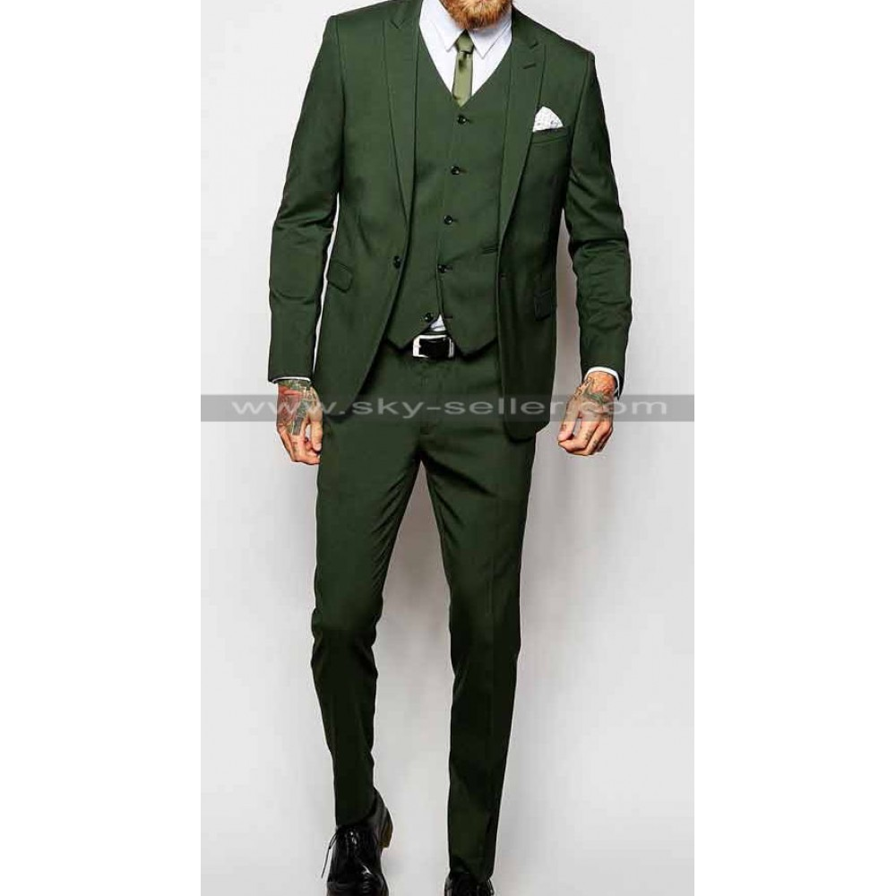 Men's Peak Lapel Khaki Green Suit