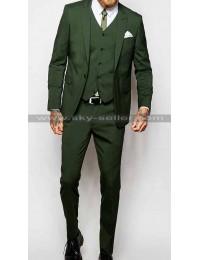 Men's Peak Lapel Khaki Green Suit