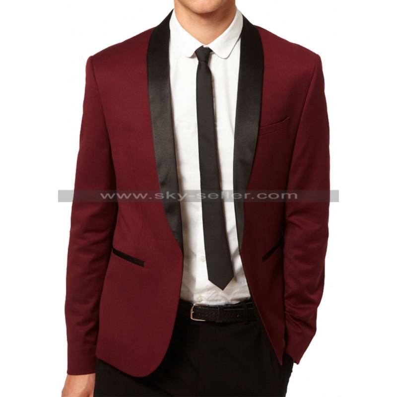 Wine Skinny Fit Prom Tuxedo Suit