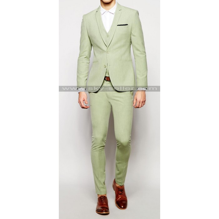Notch Lapel Sage Green Men's Suit