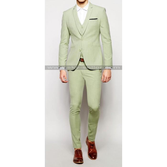 Notch Lapel Sage Green Men's Suit