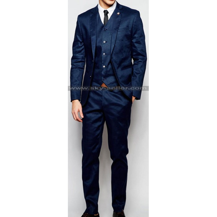 Men's Skinny Fit Navy Linen Blend Suit