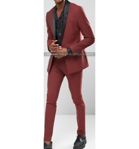 Skinny Fit Dark Red Tuxedo Stretch Suit for Men